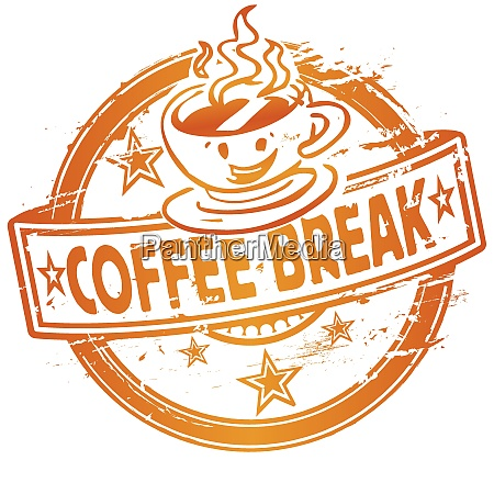 rubber stamp with a coffee break