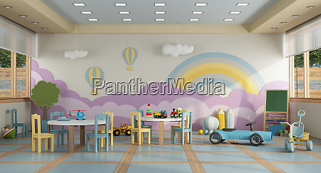 kindergarten class without childs 3d