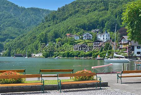 promenade of traunkirchen at lake