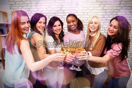 friends celebrating bachelorette party of the