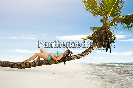 young woman lying on palm tree