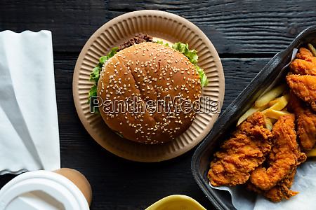 hamburger french fries and fried chicken