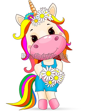 cute unicorn baby with a bouquet