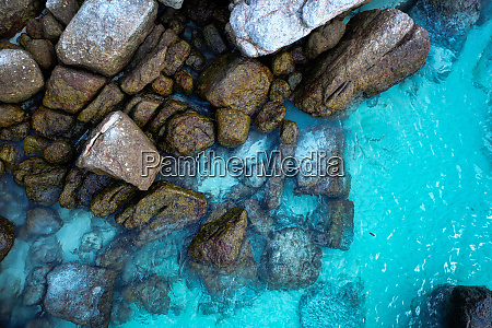 aerial view of crystal clear sea