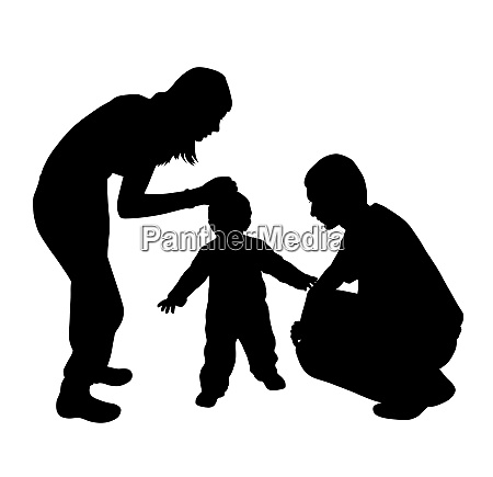 affectionate mother and father with child