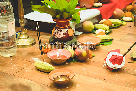 selective focus diwali puja or laxmi