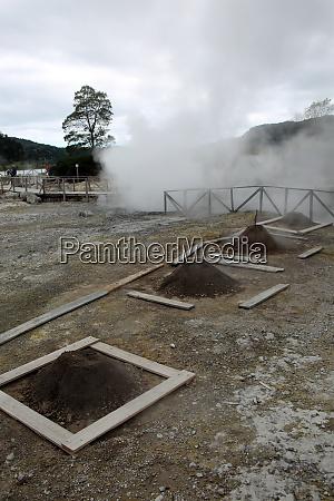 caldeiras called fumaroles at lake furnas