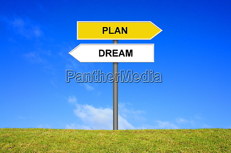 signpost showing dream or plan