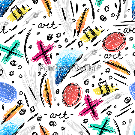 abstract seamless pattern with hand drawn