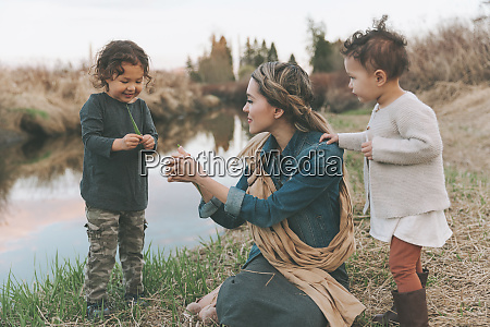 maother and children playing with a