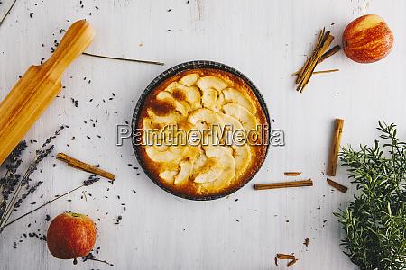 home baked apple pie in pan