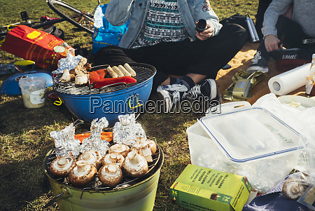 young people having a barbecue in