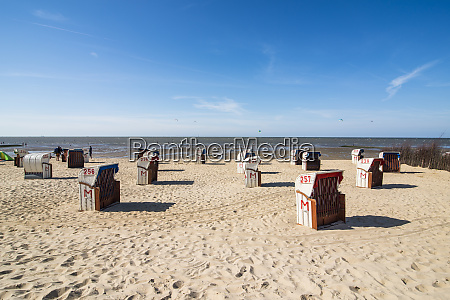 germany cuxhaven beach chairs on the