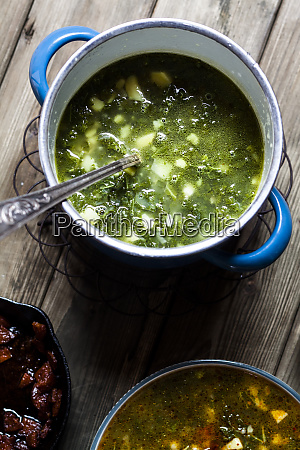caldo verde soup with green cabbage