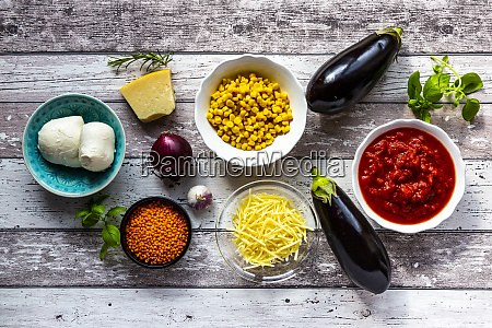 ingredients for aubergine lasagne