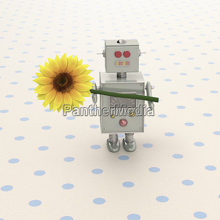 3d rendering toy robot presenting a