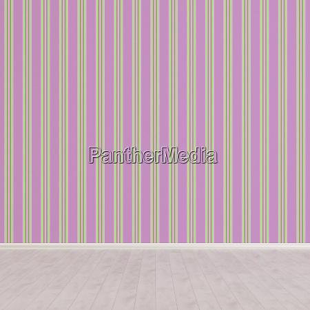 3d rendering striped wallpaper in empty