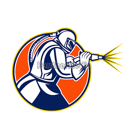 sandblaster abrasive blasting mascot circle