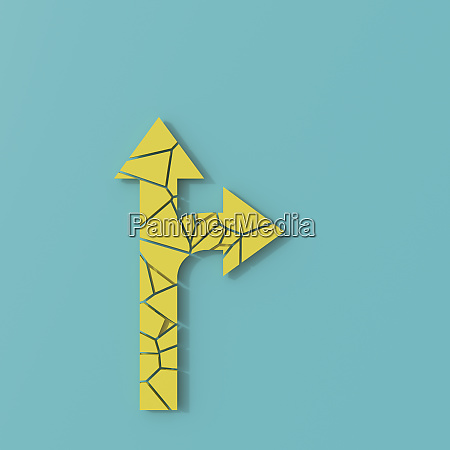 3d rendering yellow traffic arrow in