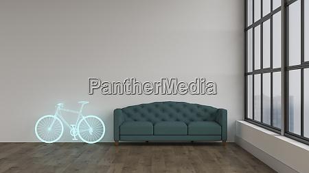 3d rendering hologram of bicycle in