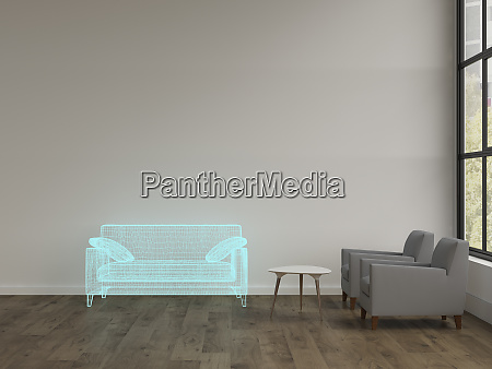 3d rendering hologram of couch in
