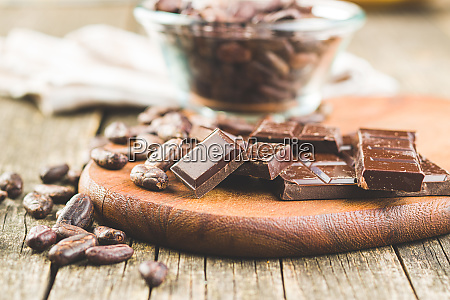 dark chocolate bar and cocoa beans
