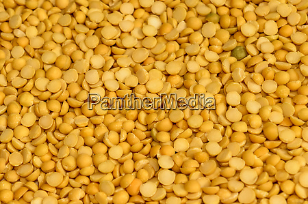 close up pile of yellow lentils