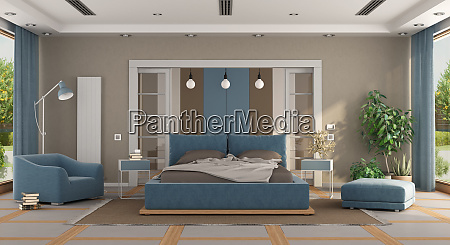 luxury blue and brown master bedroom