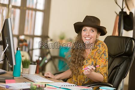 stylish woman working in a creative