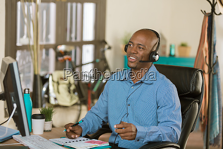 handsome african american business man talking
