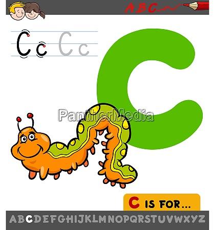 letter c worksheet with cartoon caterpillar