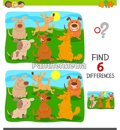 finding differences game with cute dogs