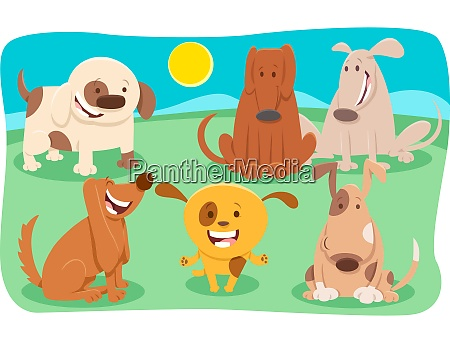 funny dogs cartoon characters group