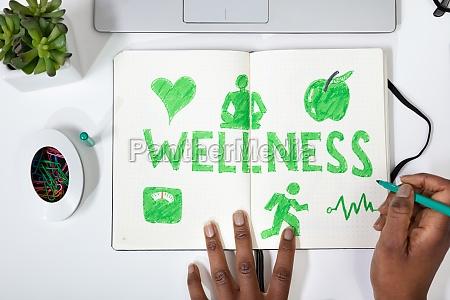 human hand drawing wellness concept