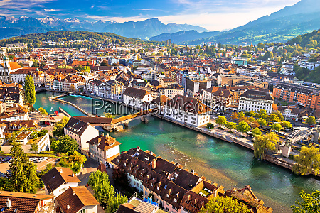 city of luzern riverfront and rooftops