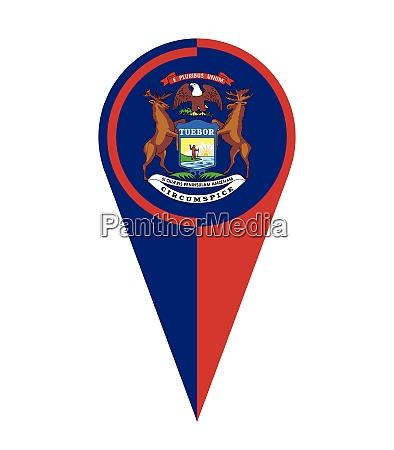michigan map pointer location flag