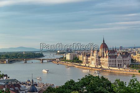 hungarian parliament and danube river