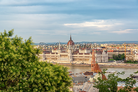 hungarian parliament and cityscape