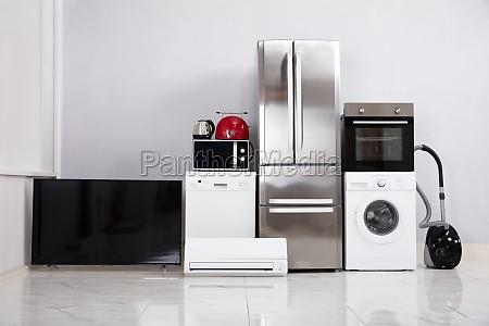 modern appliances in new kitchen apartment