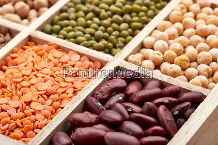 background of different dry legumes beans