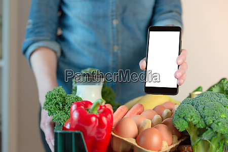 food delivery service woman holding