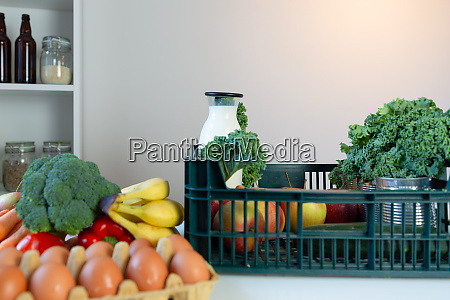 fresh healthy groceries and vegetables from
