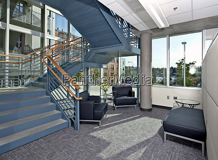 lobby seating and stairs in an