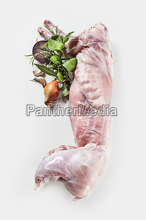 cleaned, skinned, raw, wild, rabbit, with - 26974663