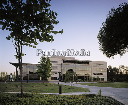 modern office building at twilight