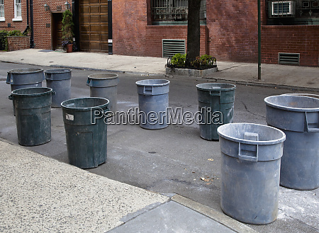 trash cans on the street
