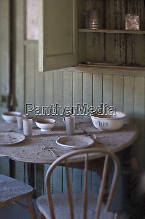 dining table in abandoned home