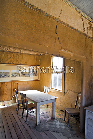 dining room in abandoned home