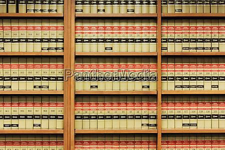 shelves of law books