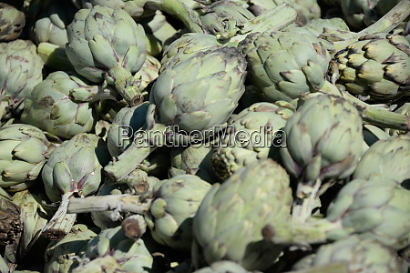 artichokes at the weekly market in